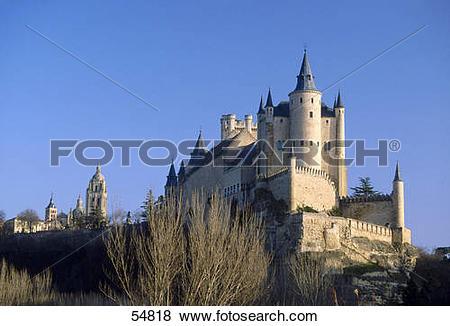 Pictures of Castle on hill, Salazar Castle, Segovia, Spain 54818.