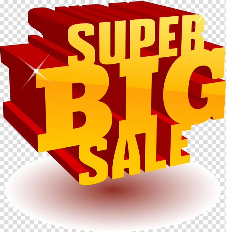 Red and gold Super Big Sale 3D signage, Sales Advertising.