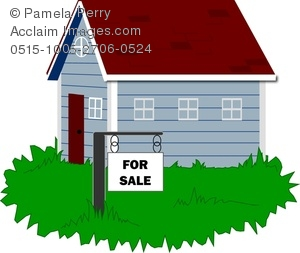 Clip Art Image of a House for Sale With a Sign in the Yard.