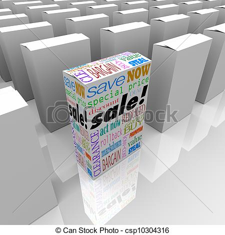 Clipart of One Product Box On Sale Best Price Competition Store.