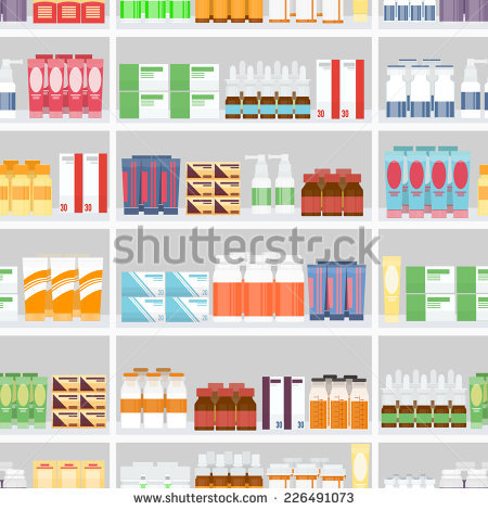 Pharmacy Shelves Stock Images, Royalty.