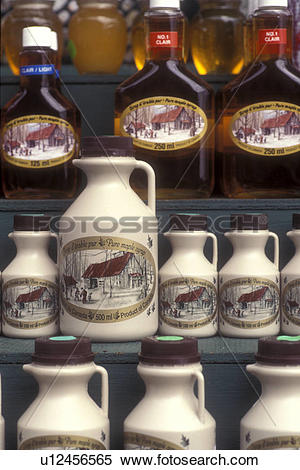 Stock Image of Maple product, Canada, Quebec, Montreal, Bottles of.
