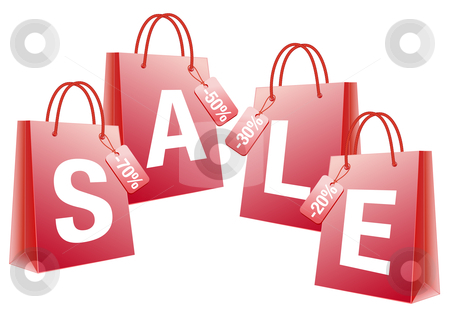 Sale, red shopping bags, vector stock vector.