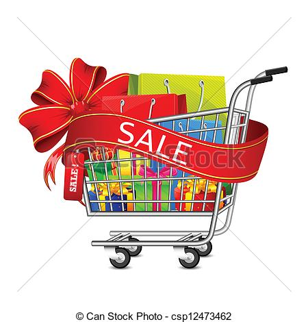 Clip Art Vector of Sale Gift Box in Shopping Cart.