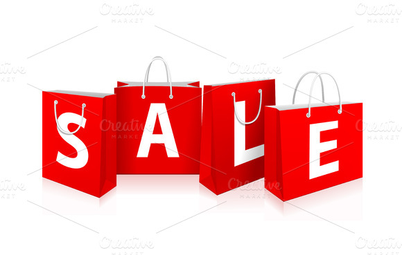Sale shopping bags clipart.