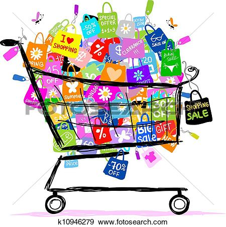 Clipart of Sale shopping bags k5645014.