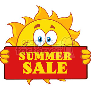 cute sun cartoon mascot character holding a sign with text summer sale  vector illustration isolated on white background clipart. Royalty.