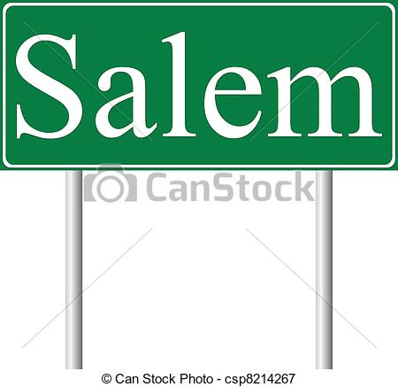 Vectors Illustration of Salem green road sign isolated on white.