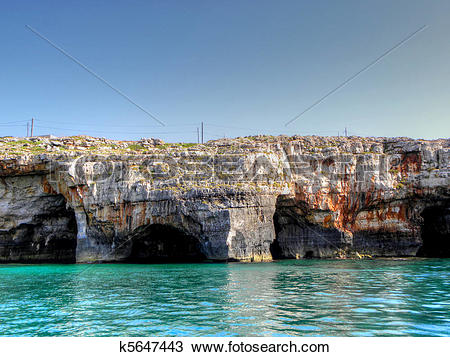 Stock Photo of The sea caves in salento k5647443.