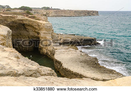 Stock Photography of Scenic rocky cliffs of Torre Sant Andrea.