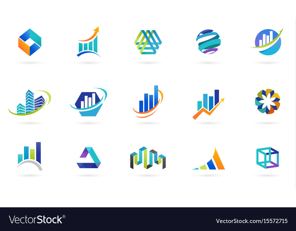 Marketing finance sales and business logos.