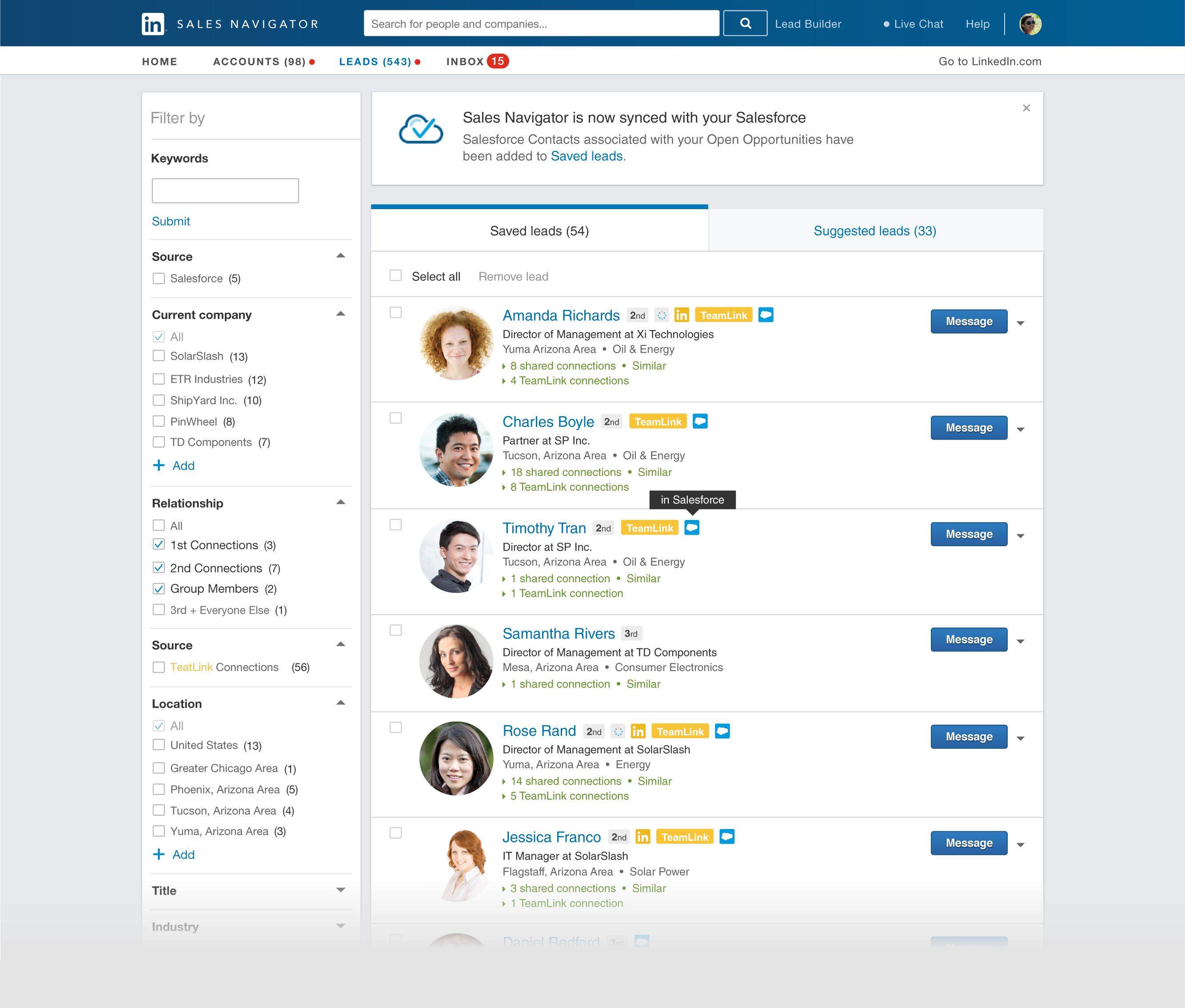 LinkedIn Sales Navigator.