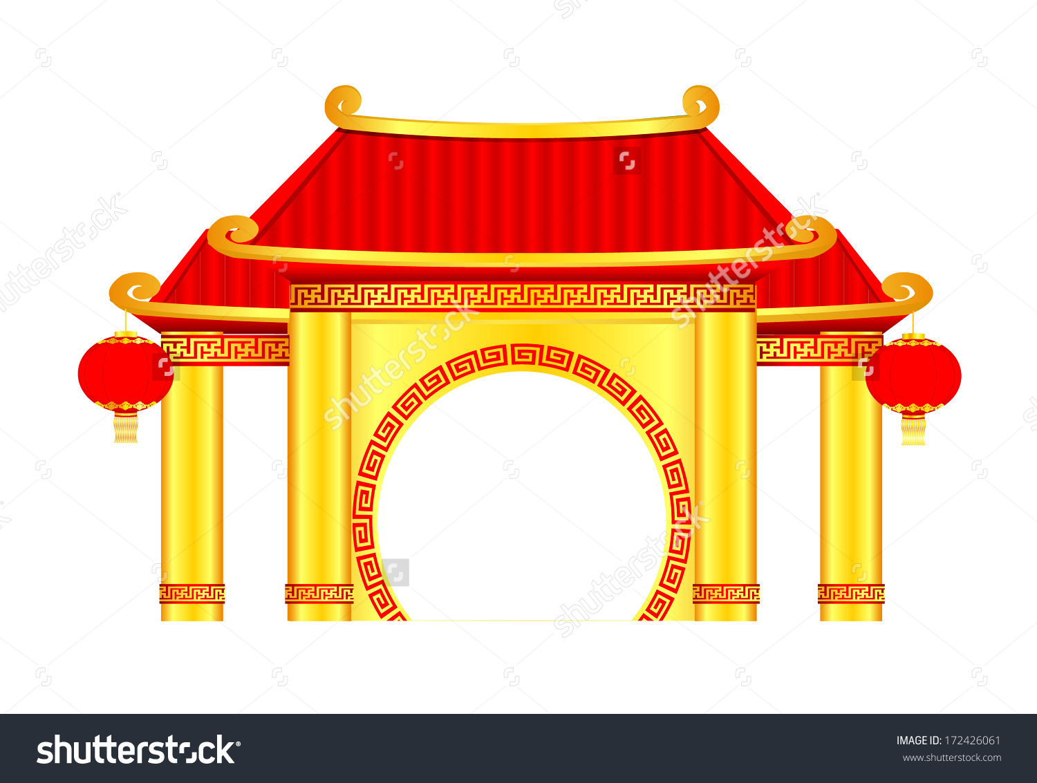 Chinese Pavilion Arch Vector Stock Vector 172426061.