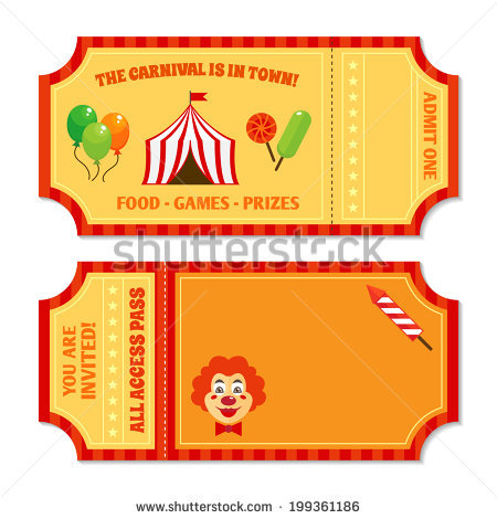 Two Vintage Circus Tickets Clown Pavilion Stock Vector 199361186.