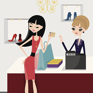 Clothing Salesperson Clipart.