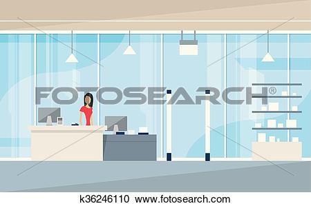 Clipart of Shop Interior Sales Woman Stand Near Cash Desk.