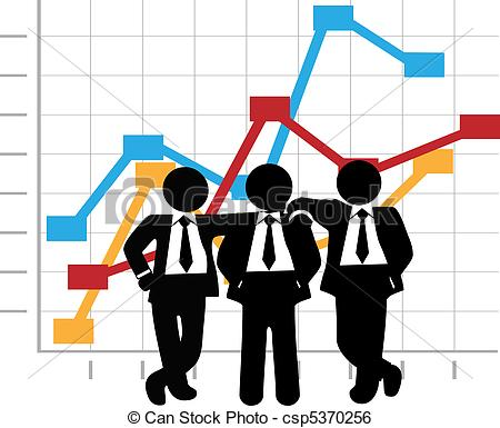 Clip Art Vector of Business Men Sales Team Profit Growth Graph.