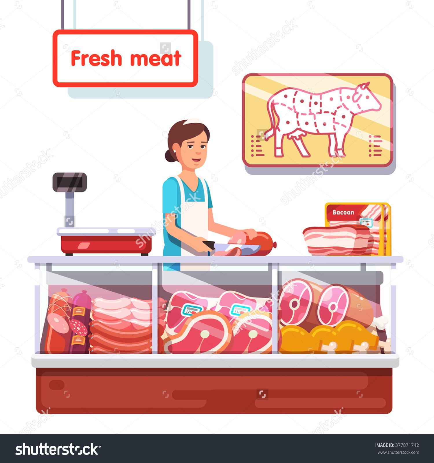 Fresh Meat Stand Supermarket Sales Clerk Stock Vector 377871742.