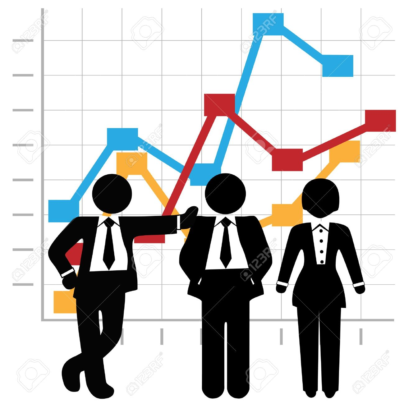 Symbols Of A Team Of 3 Sales People Stand In Front Of A Business.