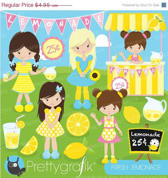 80% OFF SALE Lemonade stand clipart commercial use, vector.