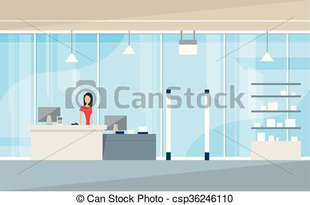 Vector Clip Art of Shop Interior Sales Woman Stand Near Cash Desk.