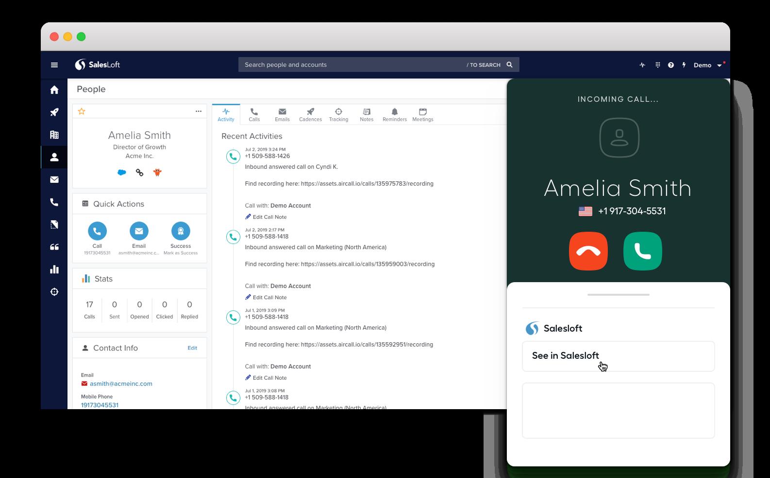 Salesloft Cloud Phone System Integration.