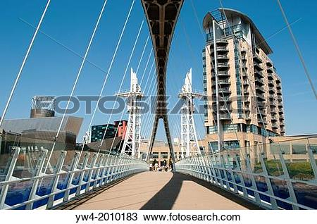 Stock Photo of The Lowry footbridge, Salford Quays, Greater.