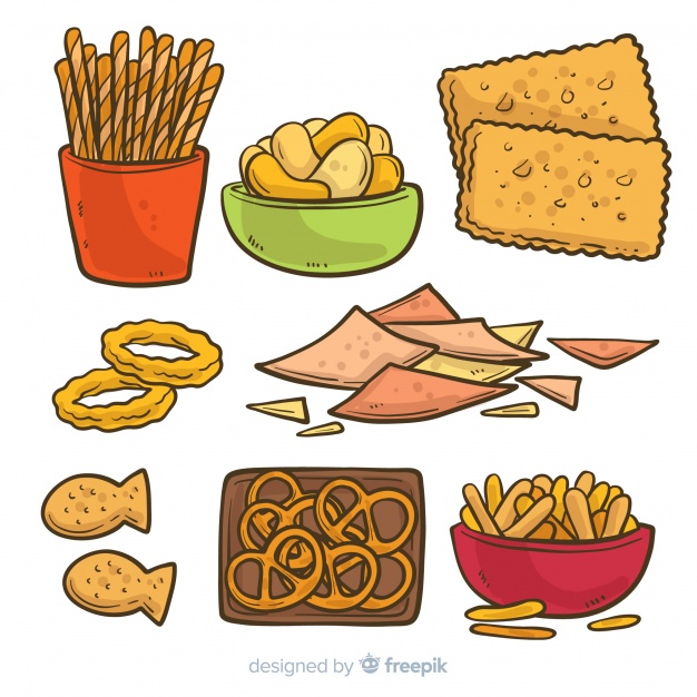 Classic hand drawn snack collection Vector.