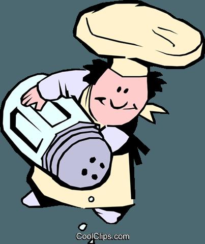chef del fumetto con saliera immagini grafiche vettoriali clipart.