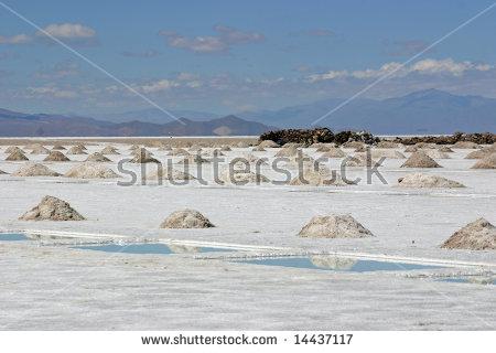 Salar Grande Or Salinas Grandes Argentina, Salt Extraction Stock.