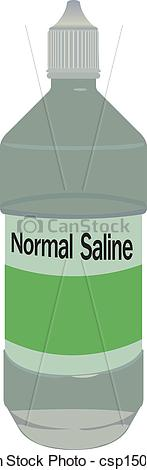 Vector Clip Art of normal saline bottle vector.