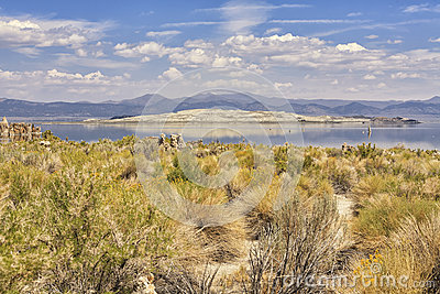 Panorama Of Mono Lake, California, USA Stock Photo.