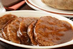 Serving Dish Of Salisbury Steak Stock Images.
