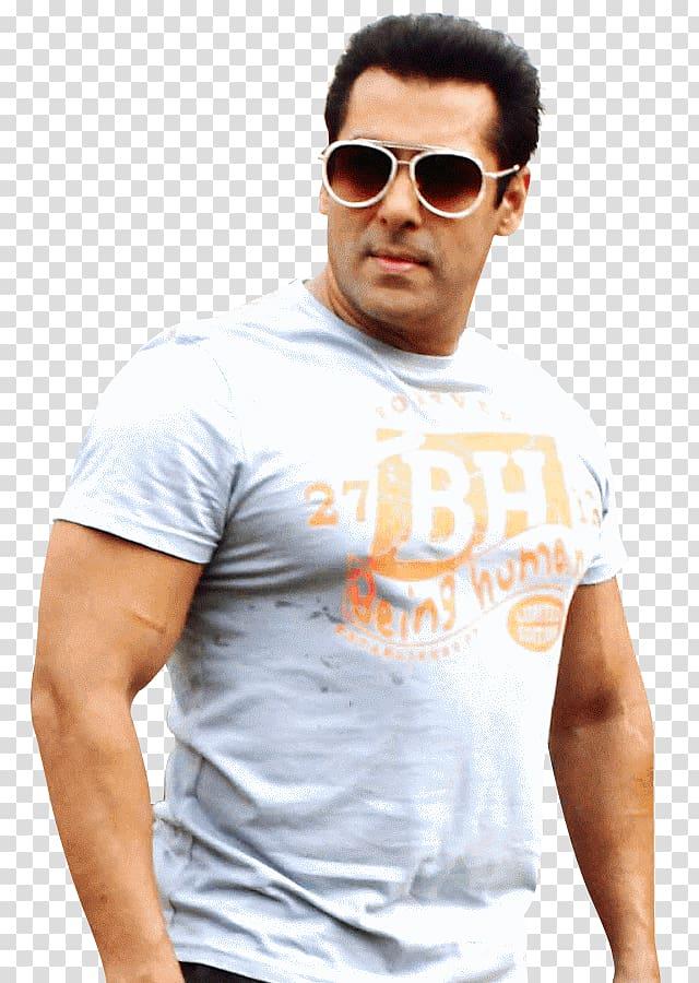 Man wearing gray shirt and brown sunglasses, Salman Khan.