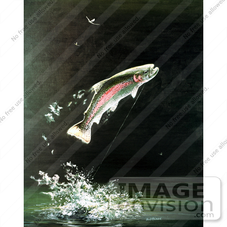 Clipart Image Illustration of a Rainbow Trout Fish Jumping Out of.