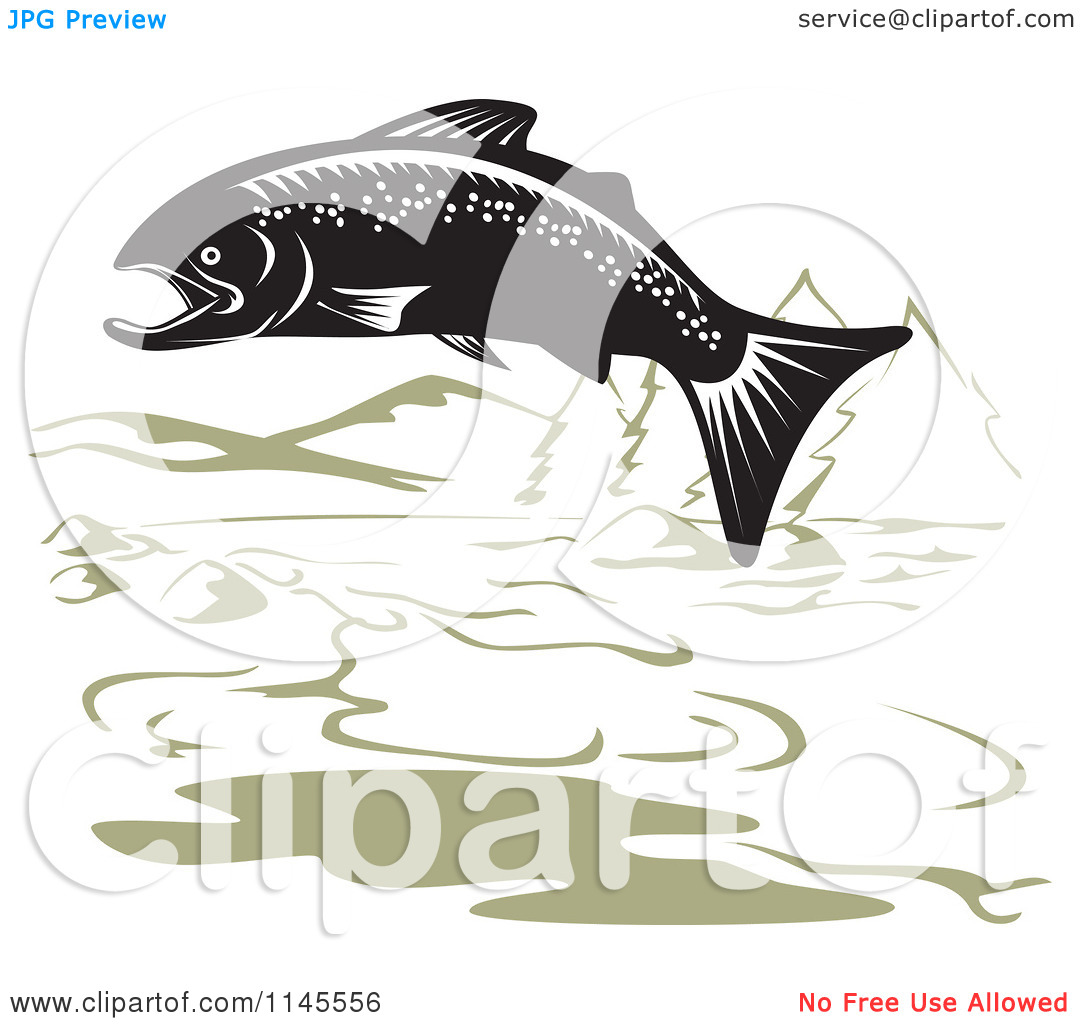 Clipart of a Jumping Black and White Salmon and Green Mountainous.