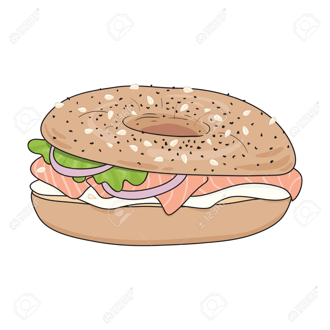 Fresh Bagel Sandwich With Cream Cheese, Salmon Fillet, Salad.