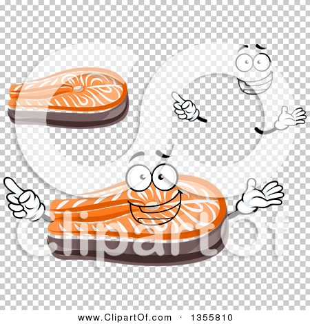 Clipart of a Cartoon Face, Hands and Salmon Steaks.