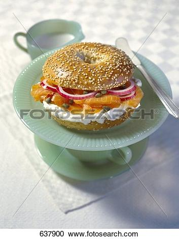 Stock Photography of Bagel with Cream Cheese and Smoked Salmon.