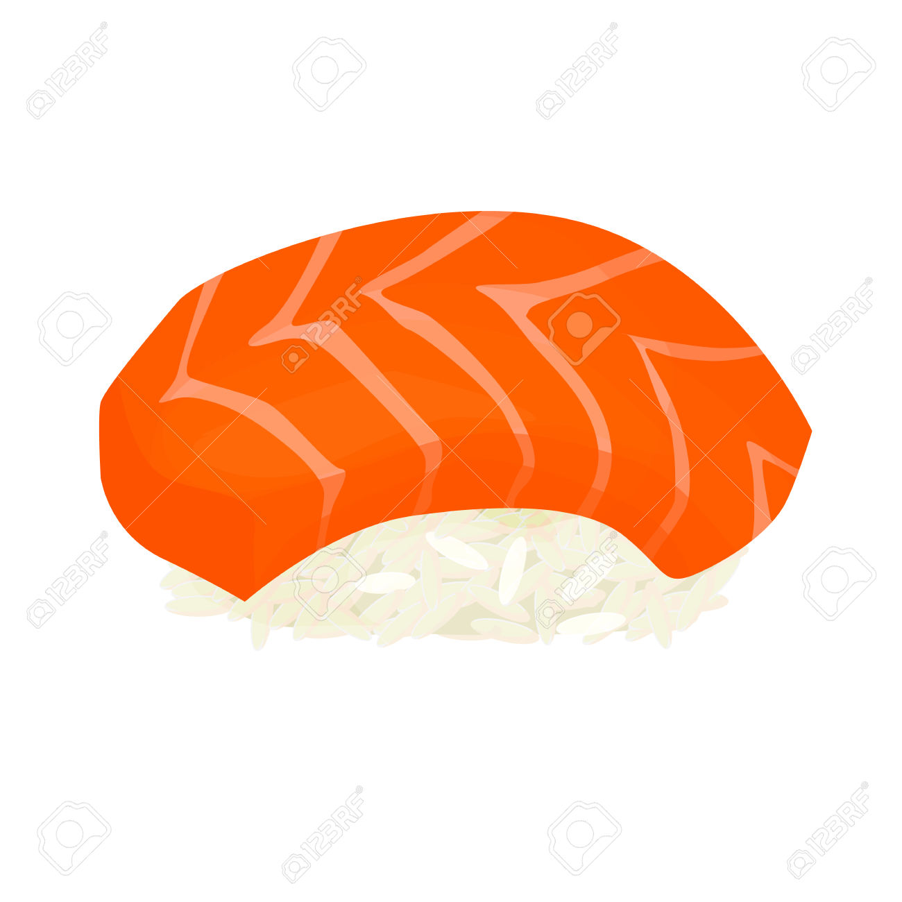 Sushi With Salmon, Vector Illustration Isolated On White.