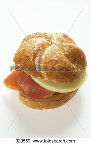 Stock Photograph of Bread roll with smoked salmon and onion 923559.