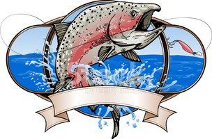Spawning Salmon Fishing Logo stock vectors.