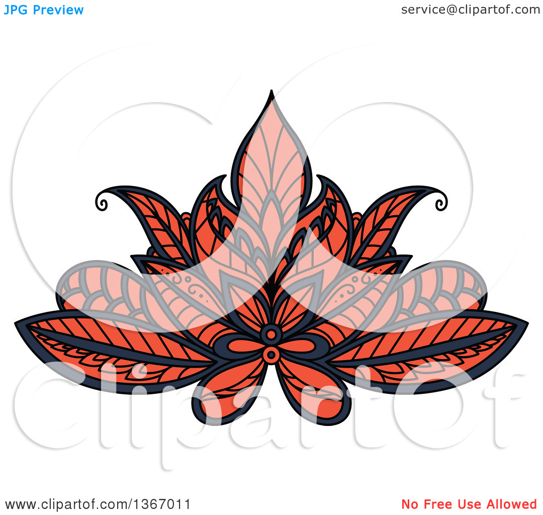 Clipart of a Blue and Salmon Pink Henna Lotus Flower.