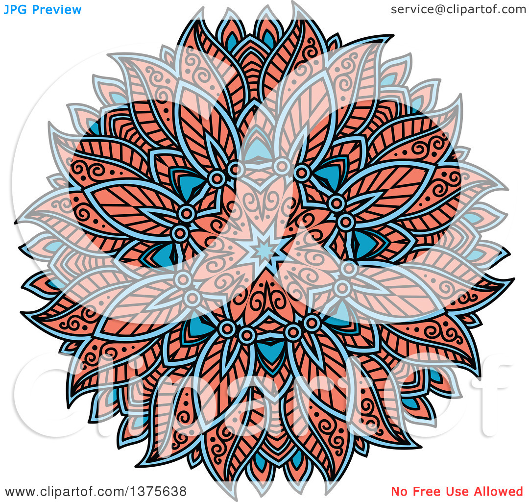 Clipart of a Blue and Salmon Pink Kaleidoscope Flower.