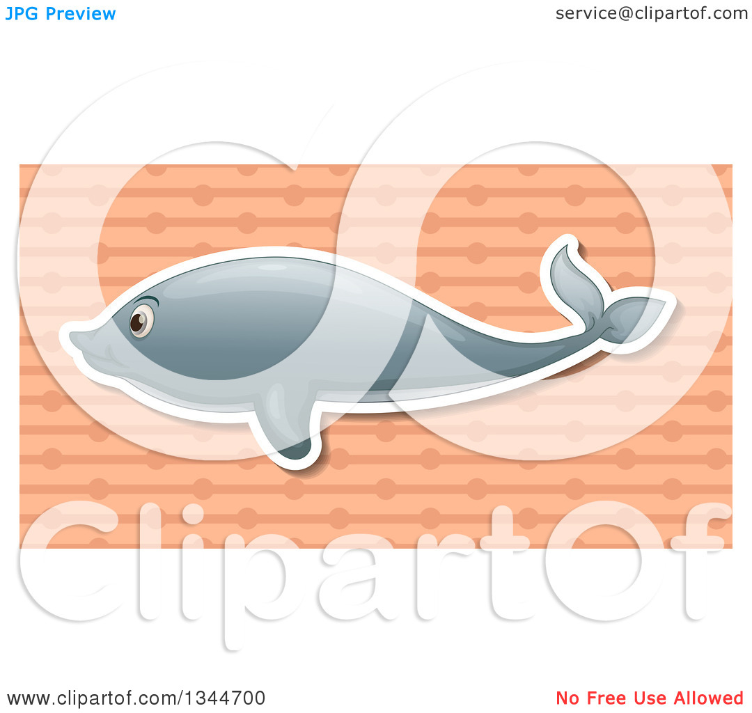 Clipart of a White Outlined Dolphin over a Salmon Pink Ball and.