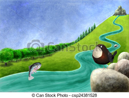 Clip Art of River with salmon and dipper.