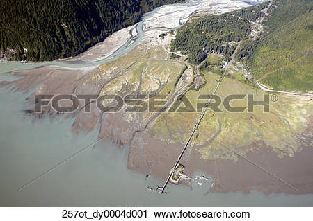 Stock Photography of Aerial of the Salmon River delta near Hyder.