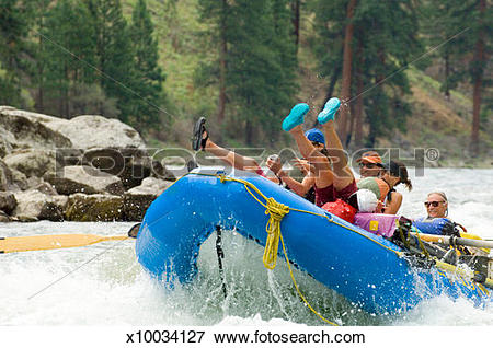 Picture of USA, Idaho, whitewater rafters on Middle Fork of Salmon.