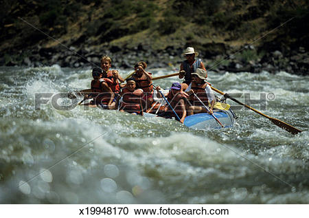 Stock Photography of Group of people on inflatable raft, lower.
