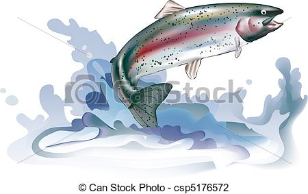 Vector Illustration of Jumping trout with water splash. Vector.